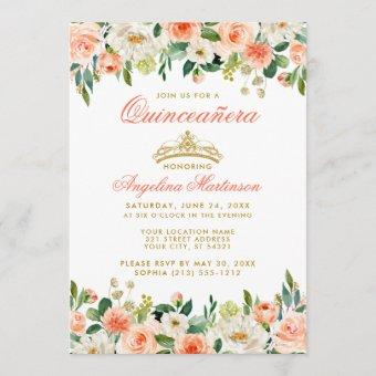 Quinceanera Gold Crown Coral Floral Invitation