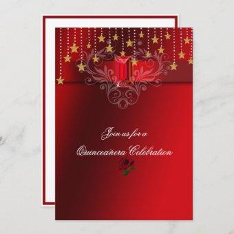 Quinceanera Gold Stars Red Ruby & Red Roses Invitation