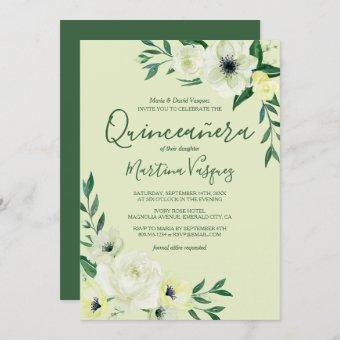 Quinceanera Green and Ivory Watercolor Wild Roses Invitation