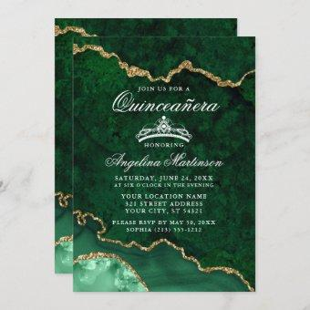 Quinceanera Green Gold Marble Agate Geode Invitation