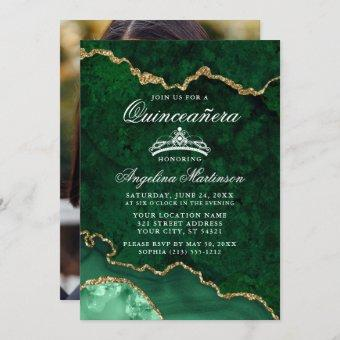 Quinceanera Green Gold Marble Agate Geode Photo Invitation