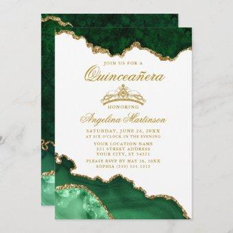 Quinceanera Green Gold Marble Crown Invitation