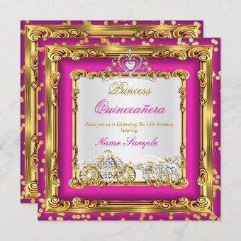 Quinceanera Hot Pink Gold Diamond Horse Carriage Invitation