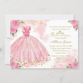 Quinceanera Invitation Bilingual Hot Pink Gown