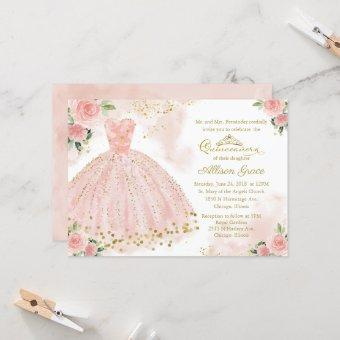 Quinceanera Invitation Gold Foil Pink Blush Gown