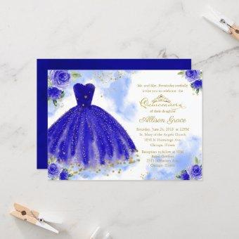 Quinceanera Invitation Gold Foil Royal Blue Gown