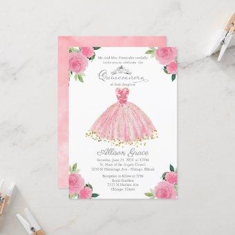 Quinceanera Invitation Gold Hot Pink Floral Gown