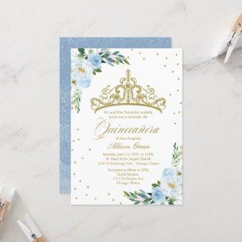 Quinceanera Invitation Gold Tiara Baby Blue Floral