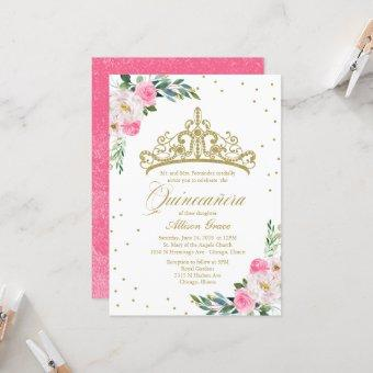 Quinceanera Invitation Gold Tiara Hot Pink Flowers