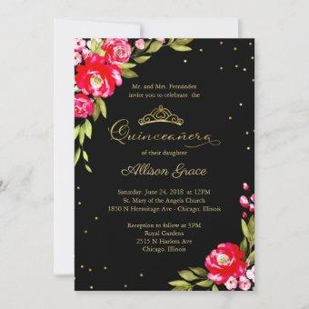 Quinceanera Invitation Hot Pink Floral On Black