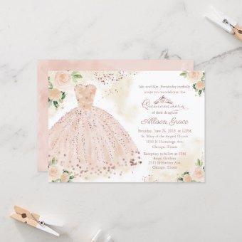 Quinceanera Invitation Rose Gold Pink Blush Gown