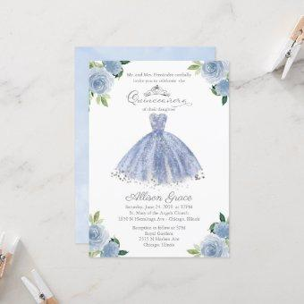Quinceanera Invitation Silver Blue Floral Gown