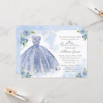 Quinceanera Invitation Silver Light Blue Gown