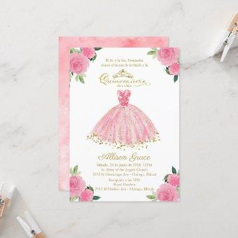 Quinceanera Invitation Spanish Hot Pink Gown