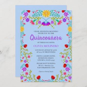 Quinceanera Light Blue Mexican Flowers Birthday Invitation