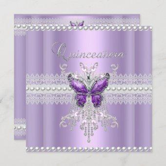 Quinceanera Lilac Pink Pearl Lace Butterfly Invitation