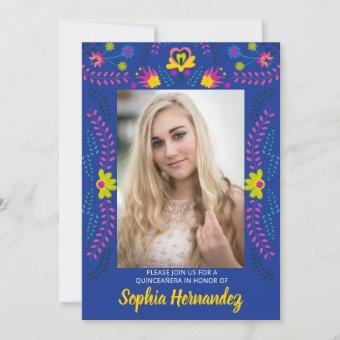 Quinceanera Mexican Fiesta Party Royal Blue Photo Invitation