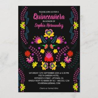 Quinceanera Mexican Party Flowers Black Birthday Invitation