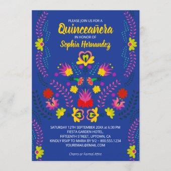 Quinceanera Mexican Party Flowers Blue Birthday Invitation