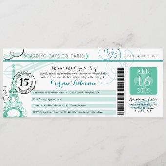 Quinceanera Mint Green and Teal | Paris Invitation