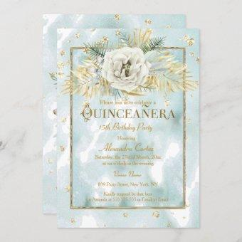 Quinceanera Mint Teal Gold marble Rose Floral Invitation