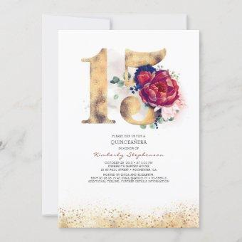 Quinceanera Navy Blue and Burgundy 15th Birthday Invitation