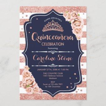 Quinceanera - Navy Rose Gold White Stripes Invitation