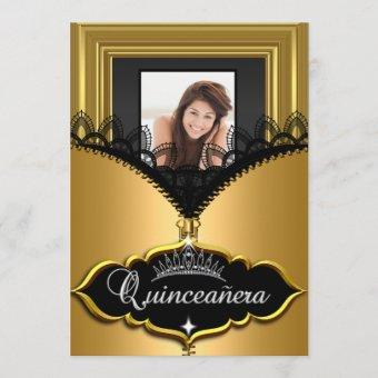 Quinceanera Party Gold Black Lace Girl Photo Invitation