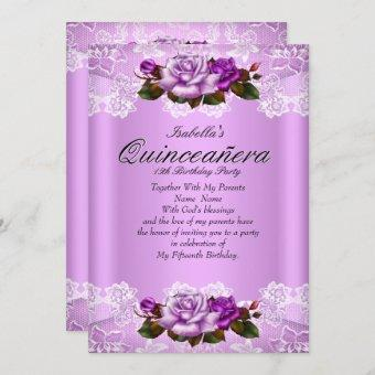 Quinceanera Party Lilac Purple Pink Roses Lace Invitation