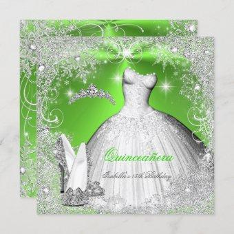 Quinceanera Party Lime Green Silver Snowflakes Invitation