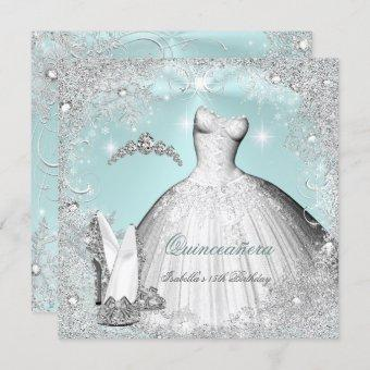 Quinceanera Party Mint Blue Silver Snowflakes Invitation