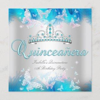 Quinceanera Party Pink Teal Blue Tiara Butterfly Invitation
