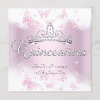 Quinceanera Party Pink White Tiara Butterfly Invitation