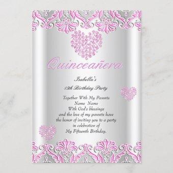 Quinceanera Party Pretty Pink Hearts Lace 4 Invitation