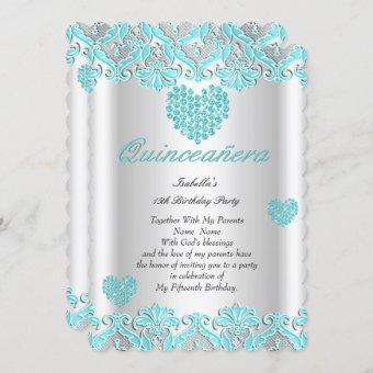 Quinceanera Party Pretty Teal Blue Hearts Lace Invitation
