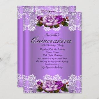 Quinceanera Party Purple Pink Roses White Lace Invitation