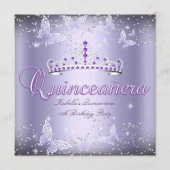Quinceanera Party Purple Tiara Butterfly 2 Invitation