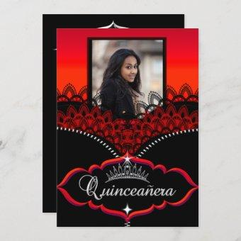 Quinceanera Party Red Black Lace Girl Photo Invitation