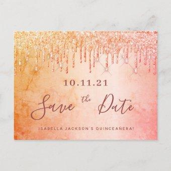 Quinceanera party rose gold glitter save the date postcard