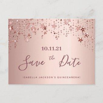 Quinceanera party rose gold stars save the date postcard