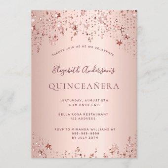 Quinceanera party rose gold twinkling stars invitation