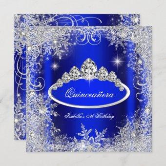 Quinceanera Party Royal Blue Silver Snowflakes Invitation