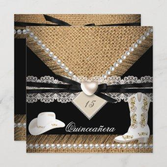 Quinceanera Party Rustic Burlap Cowgirl Hat Boots Invitation