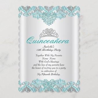 Quinceanera Party Teal Blue Hearts Lace Tiara 2 Invitation