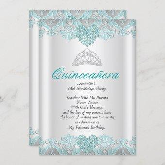 Quinceanera Party Teal Blue Hearts Lace Tiara Invitation