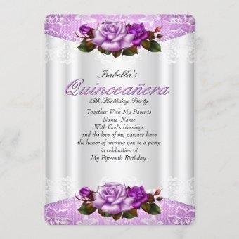 Quinceanera Party White Purple Pink Roses Lace Invitation