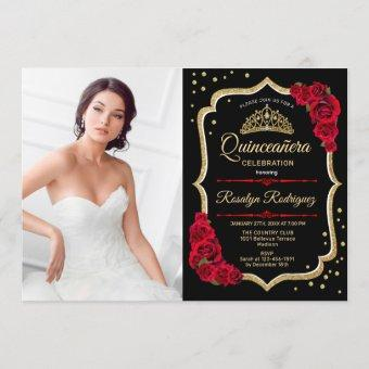 Quinceanera Party With Photo - Black Red Gold Invitation