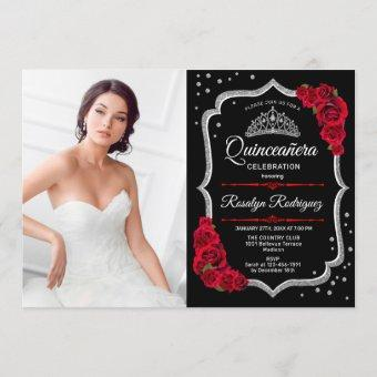 Quinceanera Party With Photo - Black Red Silver Invitation
