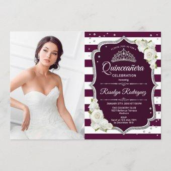 Quinceanera Party With Photo - Burgundy Silver Invitation
