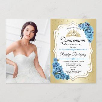 Quinceanera Party With Photo - Gold Blue White Invitation